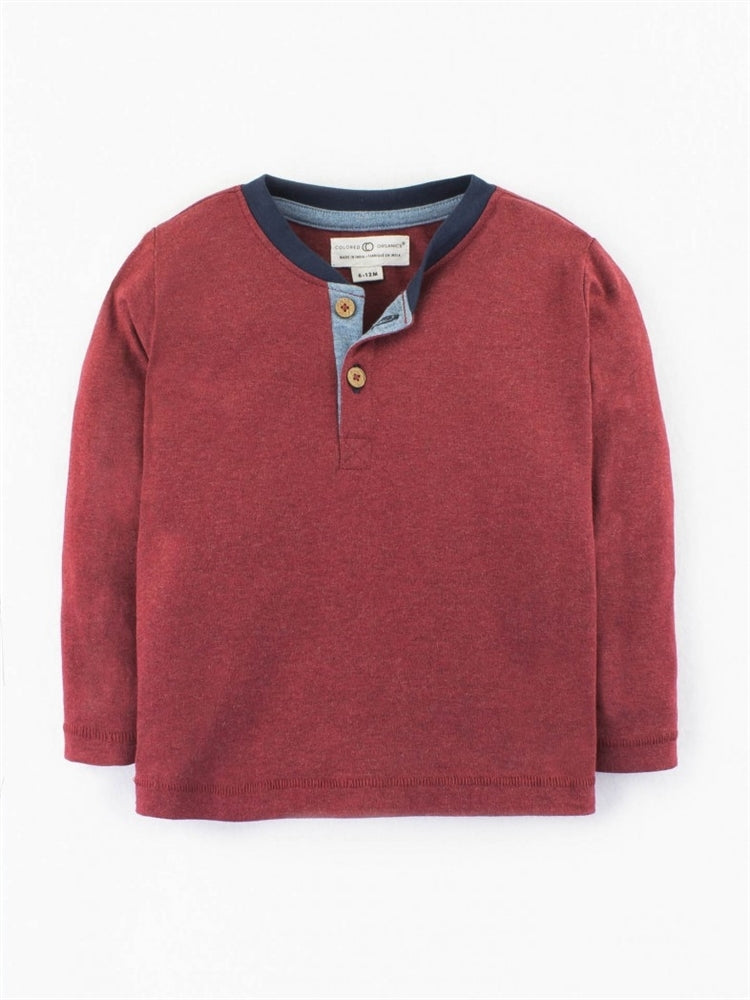 Colored Organics Long Sleeve Henry Henley Top (Heather Crimson)