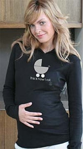 "2 Chix Maternity Black Hoodie - ""This is how I roll"""