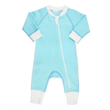 Load image into Gallery viewer, Endanzoo Classic Snuggle Organic Long Sleeve Double Zippered Romper - Aqua