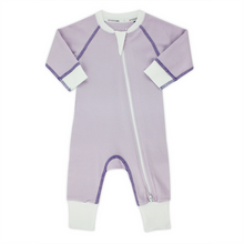 Load image into Gallery viewer, Endanzoo Classic Snuggle Organic Long Sleeve Double Zippered Romper - Purple