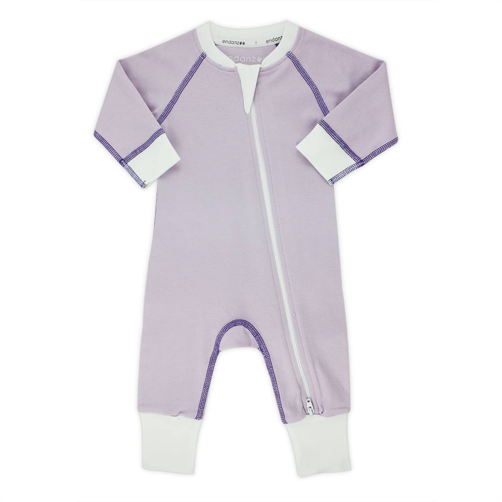 Endanzoo Classic Snuggle Organic Long Sleeve Double Zippered Romper - Purple