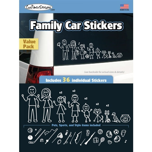 Family Car Stickers Value Pack - 36 Sticker / Black and White
