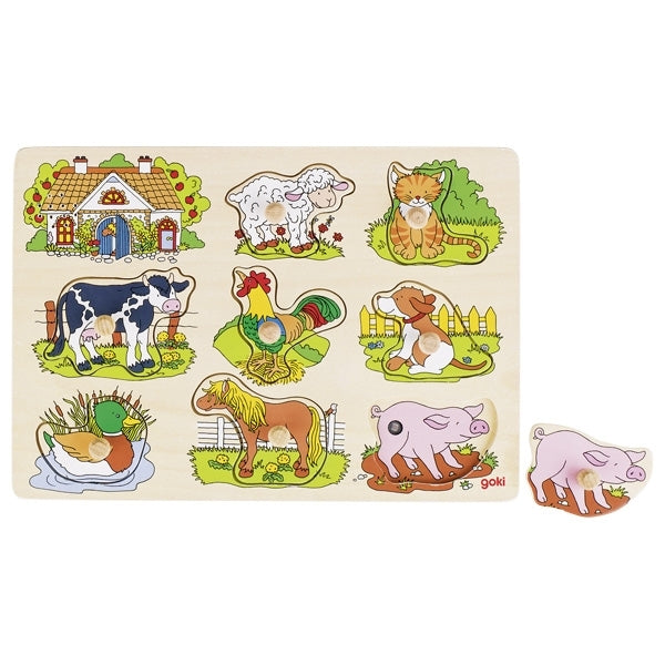 Goki Wooden Sound Puzzle with Animal Voice - Farm