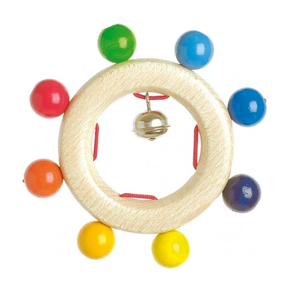 Heimess Wooden Rattles - Touch Ring Rainbow Beads