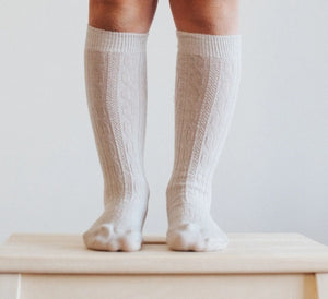 Lamington Merino Wool Knee High Natural Socks - Cable Oatmeal