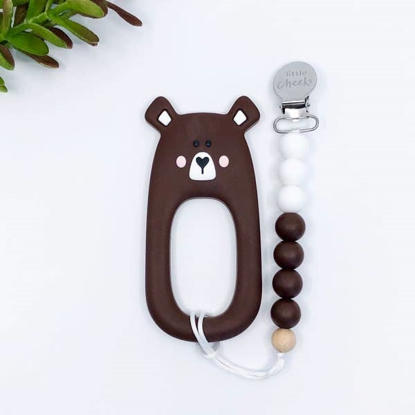Little Cheeks Silicone Teether with Clips - Brown Bear