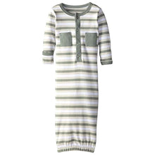 Load image into Gallery viewer, L'ovedbaby Organic Baby Gown - Seafoam Stripe