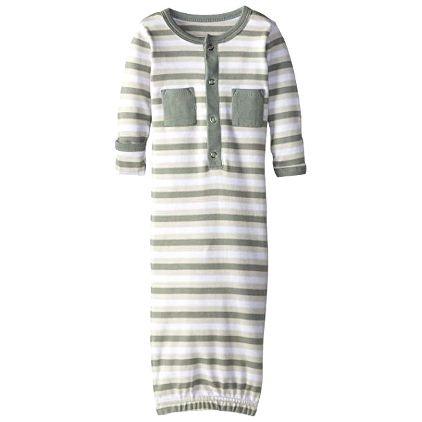 L'ovedbaby Organic Baby Gown - Seafoam Stripe