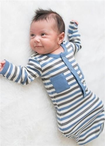L'ovedbaby Organic Gown - Slate Stripe