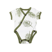 Load image into Gallery viewer, L'ovedbaby Organic Short Sleeve Kimono Bodysuit - Sage Palm