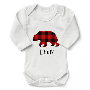 Personalized Organic Long Sleeve Baby Bodysuit - Baby Bear