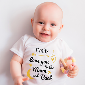 [Personalized] Love You To The Moon & Back Organic Baby Bodysuit