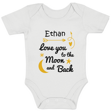 Load image into Gallery viewer, [Personalized] Love You To The Moon & Back Organic Baby Bodysuit