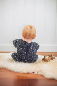 Nui Organics Organic Cotton Fleece Romper - Charcoal