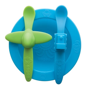Oogaa Silicone Mealtime Bowl & Spoons Set (Blue)