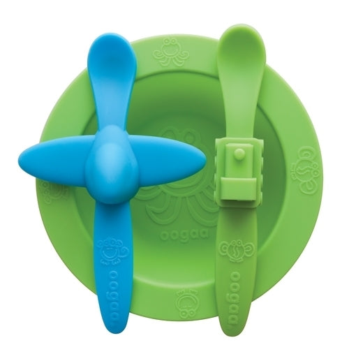 Oogaa Silicone Mealtime Bowl & Spoons Set (Green)