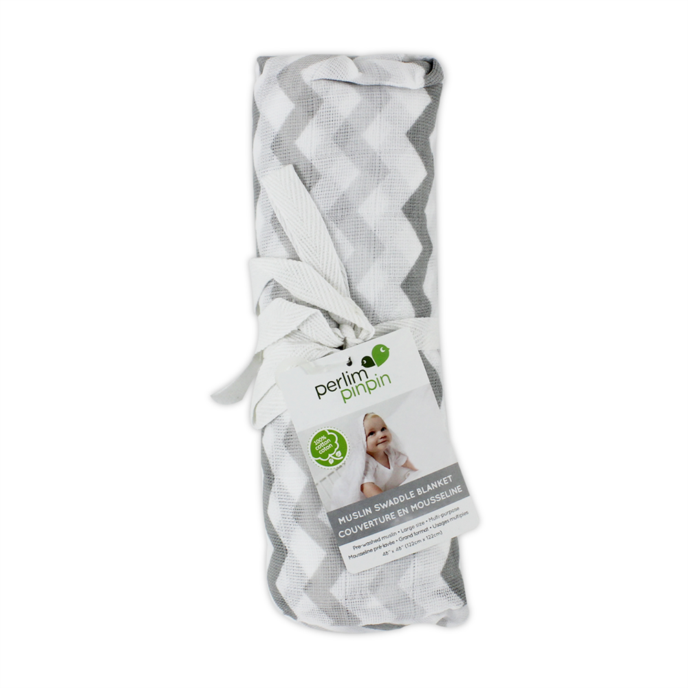 Perlimpinpin Muslin Swaddle - Grey Chevron