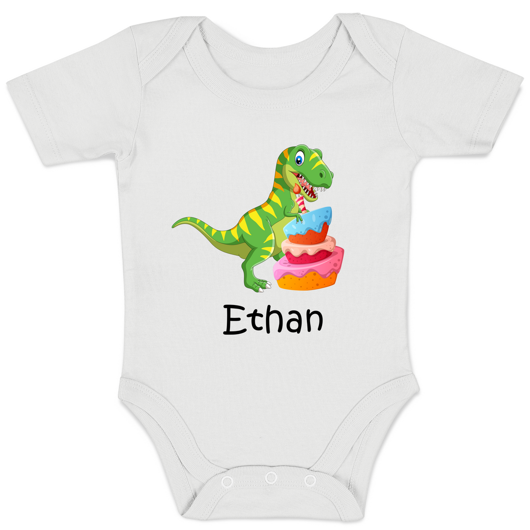 [Personalized] Dinosaurs Smashing Cake Organic Short Sleeves Baby Bodysuit