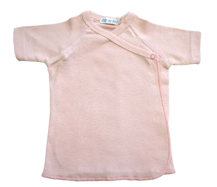 Under The Nile Organic Short Sleeve Side Snap Undershirt (Pink)