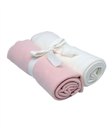 Under The Nile Organic Swaddle Blanket 2-Pack (Pink & White)