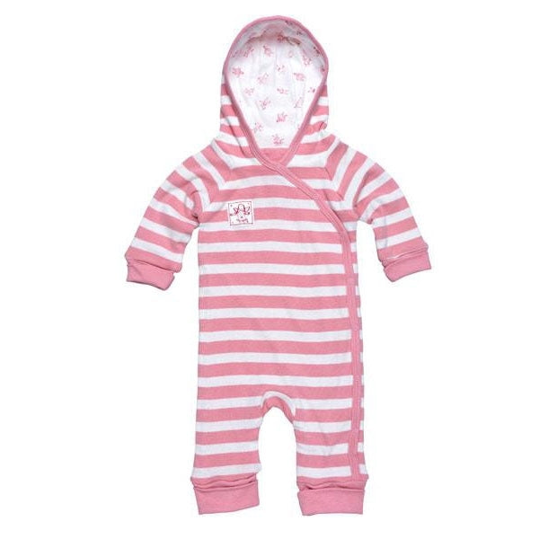 Under the Nile Organic Line Hooded Romper - People Pink Stripe