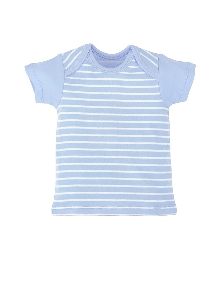 Under the Nile Organic Short Sleeve Lap Shoulder T-shirt - Blue Stripe
