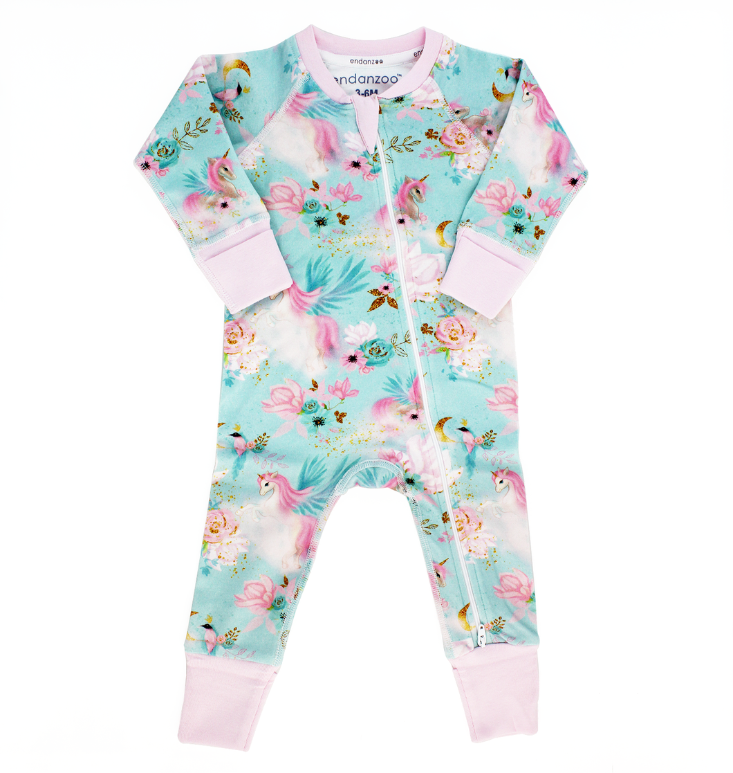 Endanzoo Organic Long Sleeve Double Zippered Romper - Mystical Unicorns