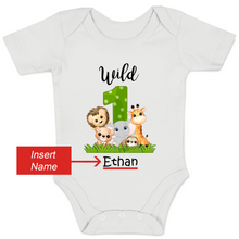 Load image into Gallery viewer, [Personalized] Wild 1 Jungle Animals Organic Baby Bodysuit