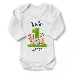 [Personalized] Wild 1 Jungle Animals Organic Baby Bodysuit