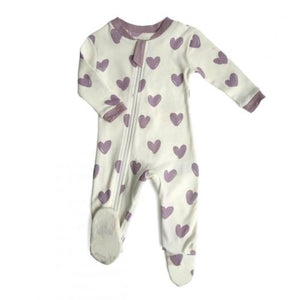 Zippy Jamz Organic Footie -Hearts