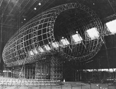 Akron under construction in the Goodyear Airdock at Akron, Ohio in November 1930. Note the three-dimensional, deep rings.