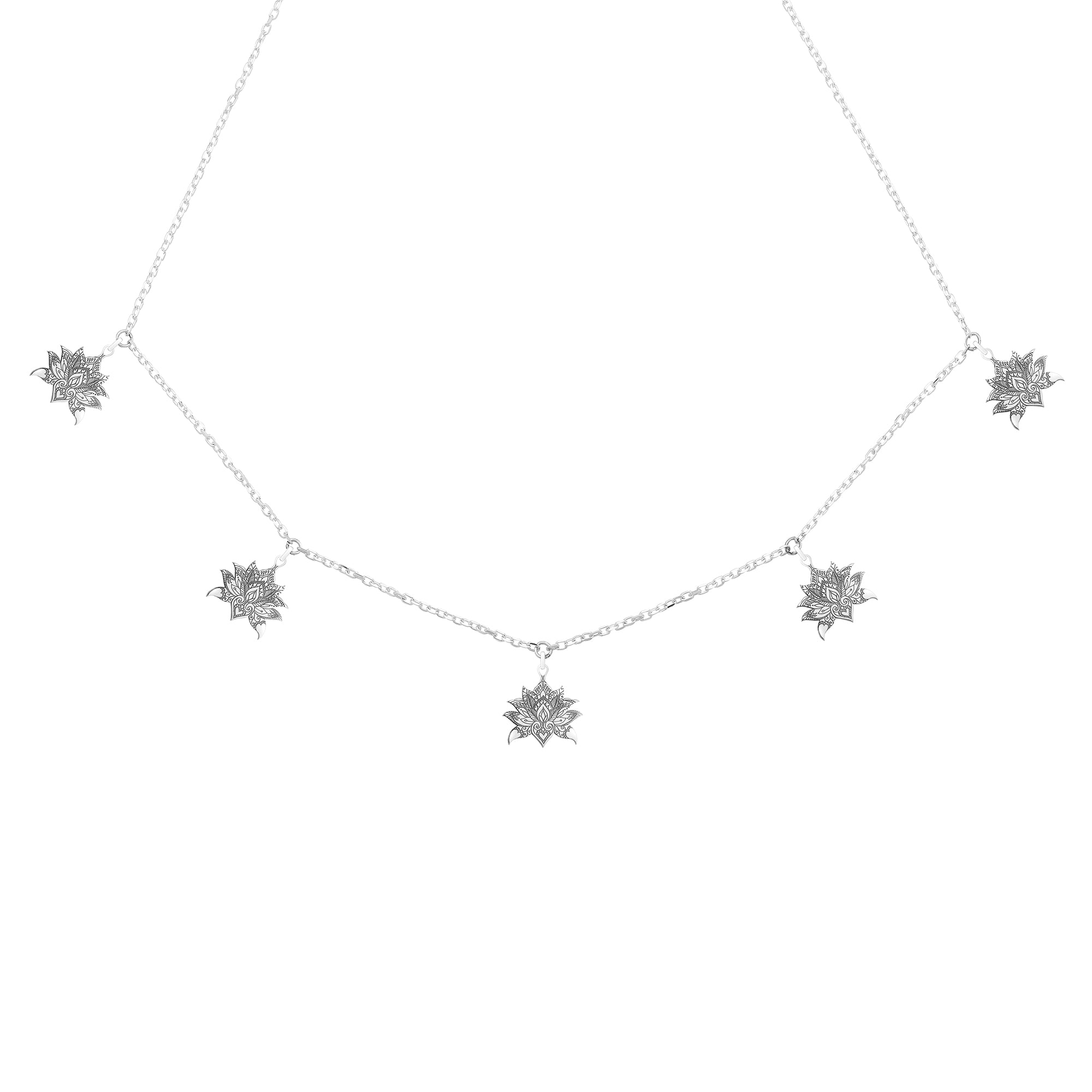 Lotus Flower - 5 Charm Necklace