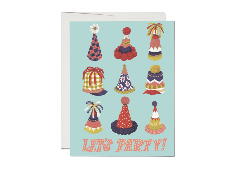 Red Cap Cards - Party Hats Card