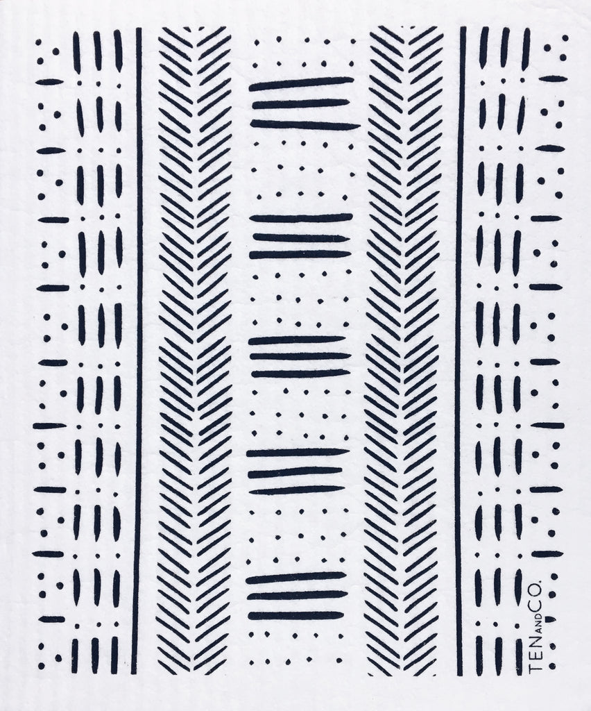 Ten and Co - Mudcloth Black Sponge Cloth