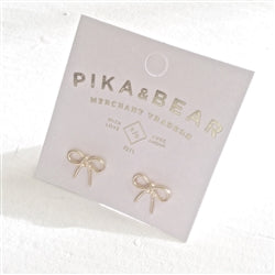 "Pika & Bear - ""Zooey"" Tiny Bow Stud Earrings"