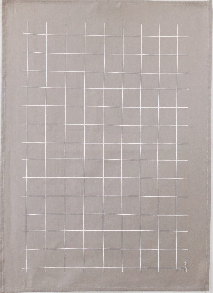 Ten and Co - Tea Towel Grid (White on Warm Grey)