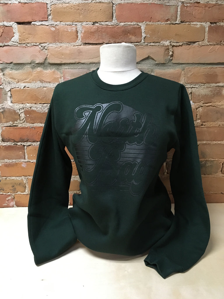 North Bay Unisex ADULT Crewneck Sweater (Monochrome Forest Green)
