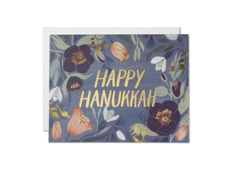 Red Cap Cards - Hanukkah Flowers Holiday Card