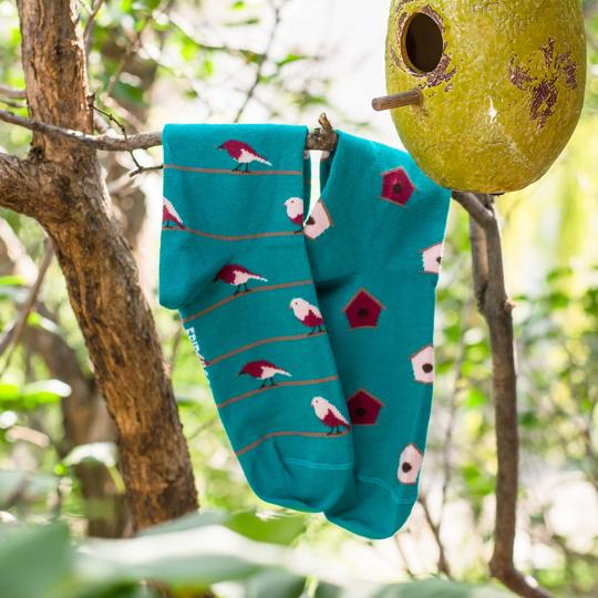Friday Sock Co. - Women's Recycled Cotton Birdhouse & Bird Socks