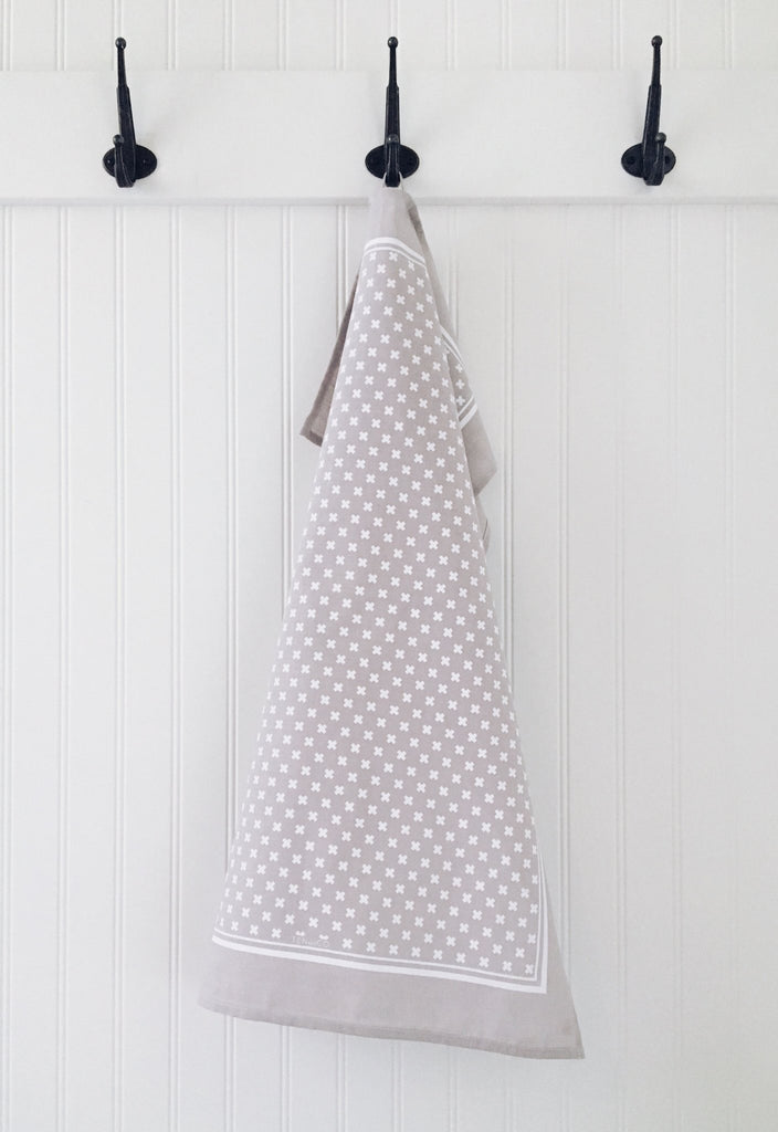 Ten and Co - Tiny X (White on Warm Grey) Tea Towel