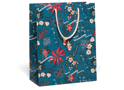 Red Cap Cards - Blue Poinsettia Bag