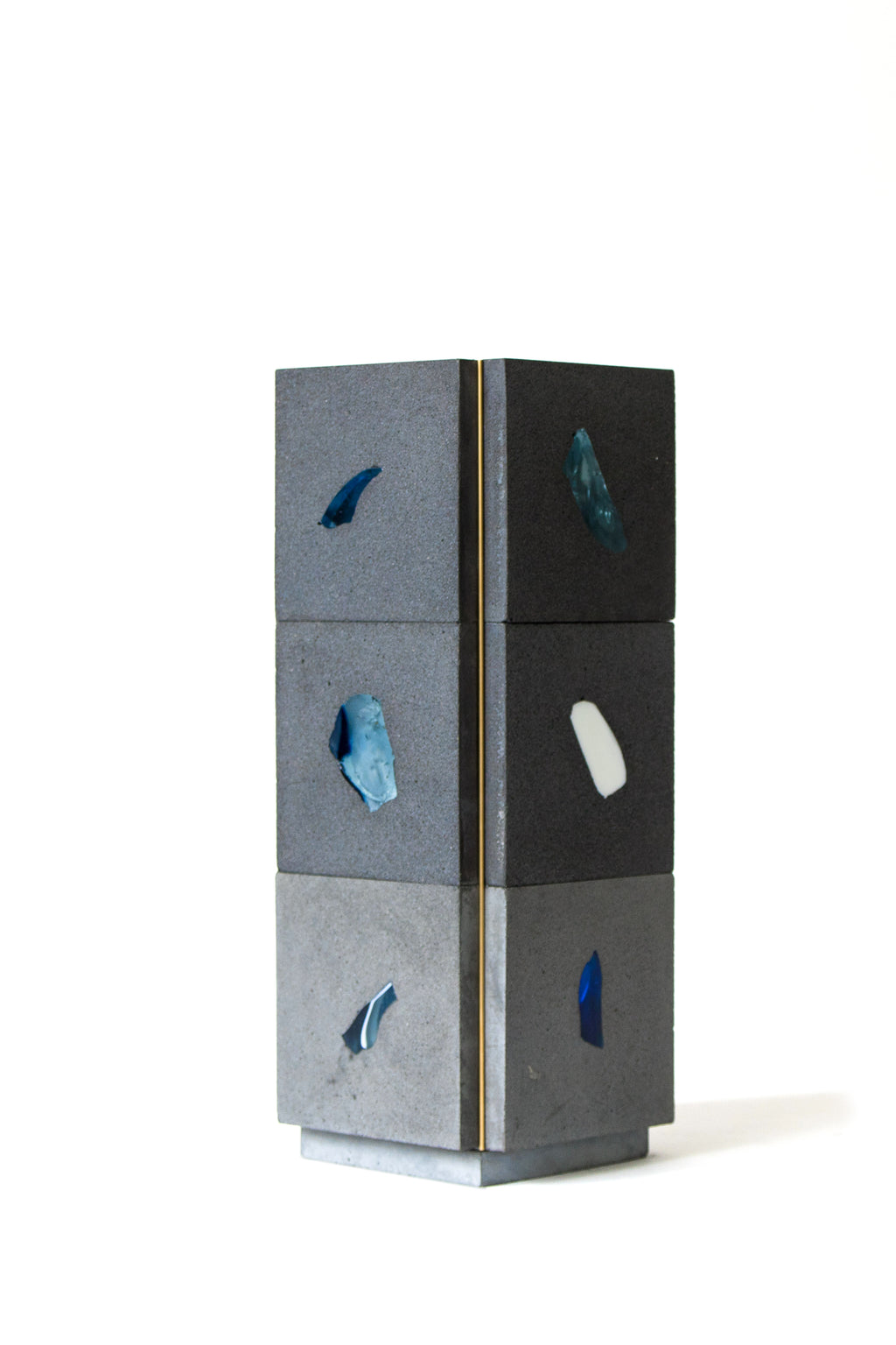 Two of four side views, Functional artpieces, architecture for flowers, design vases made of Basis Rho, designed and handmade by Studio Jeschkelander, sustainable production, neoterrazzo