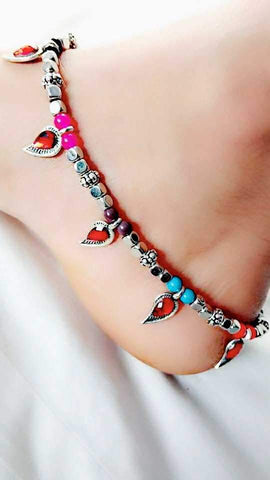 Red Leaf Anklet- ANK001 Multicolour anklet with red leaf droppings