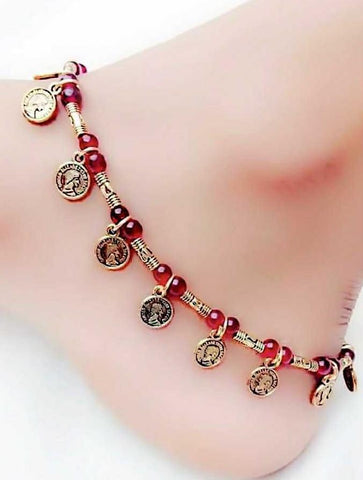 Multicoin Anklet- ANK003 Cute hanging coin regularwear anklet set