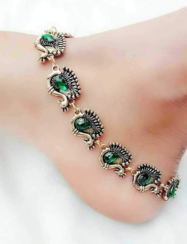 Stone Embedded Peacock Silver Anklet- ANK013 Green coloured stone worked peacock set