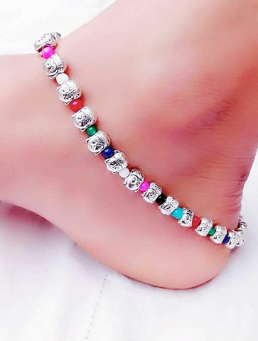 Colourful Ball Anklet- ANK015 Multicolour beaded simple regularwear anklet