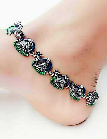 Peacock Styled Silver Anklet- ANK016 Traditional peacock shaped silver anklets