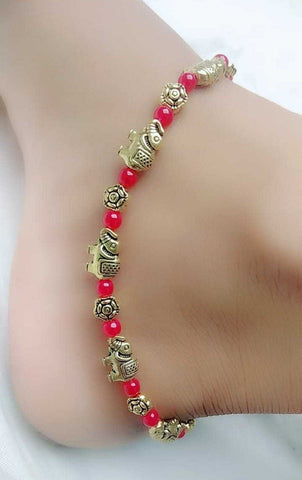 Elephant Bead Silver Anklet- ANK018 Cute elephant shaped anklet with red beads