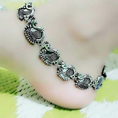 Peacock Designed Silver Anklet- ANK020 Traditional peacock shaped anklet set