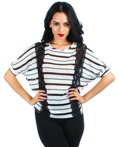 WHITE STRIPE KNIT DOLMAN SLEEVE SWEATER WITH LACE CUTOUT SIDES